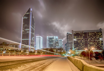 charlotte nc usa skyline during and after winter snow