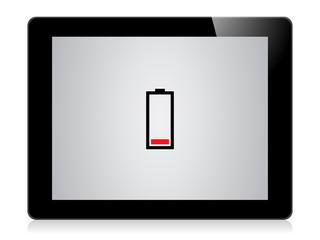Tablet mit niedrigem Akkustand
