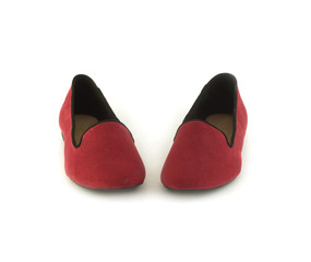 Nice crimson female shoes isloated on white closeup