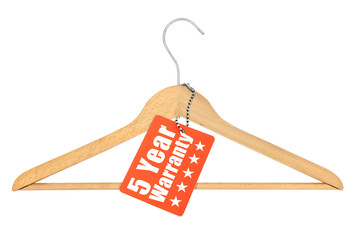 coat hanger with warranty tag