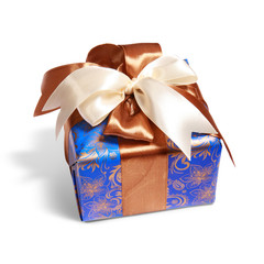 gift packing tied by ribbon