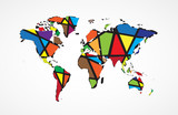 Abstract World map background in polygonal style