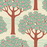 Seamless pattern with trees and hearts