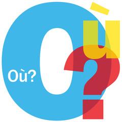"""Mosaïque de Lettres """"OU?"""" (plan lieu rendez-vous itinéraire où)"""
