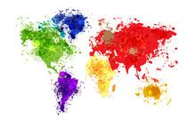 Résumé carte du monde de fond dans le style polygonal