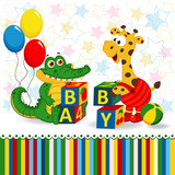 giraffe and crocodile baby blocks -  vector  illustration