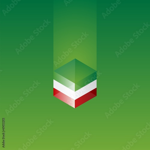 Mexico cube flag green background vector
