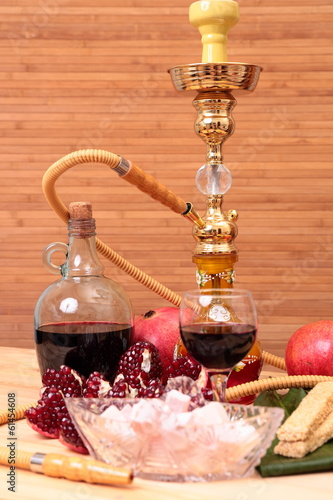 Hookah, wine and sweets