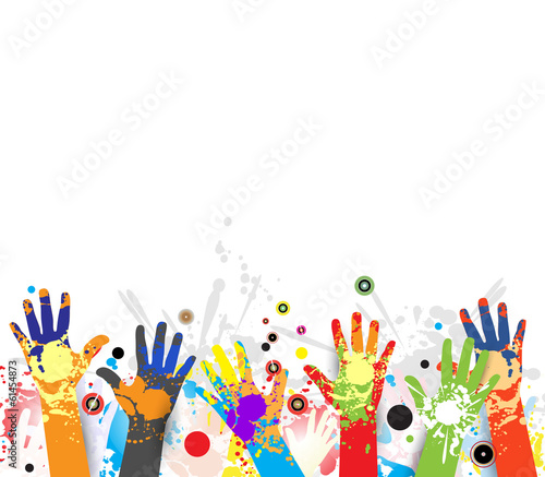 abstract children hands in colorful paint