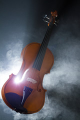 violin with smoke