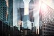 Leinwanddruck Bild - Bankenviertel im Sonnenschein