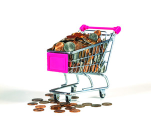 Shopping cart full with coins