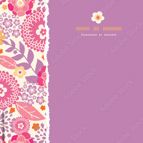 Vector warm summer plants frame square torn seamless pattern
