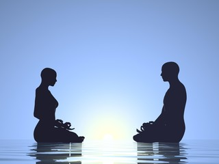 Couple meditation - 3D render