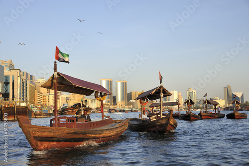 View of Deira quarter from Dubai creek with abra's or water taxi