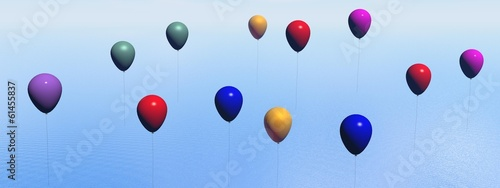 Colorful balloons - 3D render