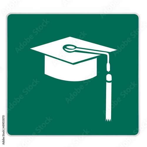 road sign - graduation cap