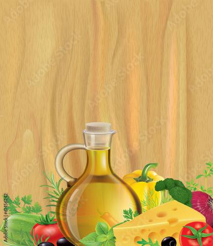 Vegetables, olive oil, wood