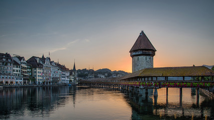 Kapellbrucke in sunrise in Lucerne, Switzerland.