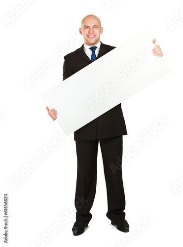 A business man with an empty blank