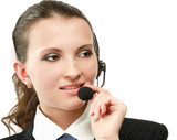 Beautiful business woman with headset. Call center.
