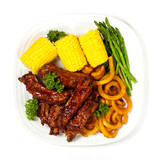 Freshly Grilled BBQ Ribs with Corn