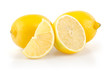 Lemons with Half and Slice on White Background