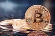 Leinwanddruck Bild - Photo Golden Bitcoins (new virtual money )