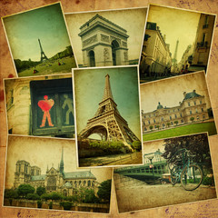 Vintage travel background with old photos of Paris.