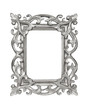Silver carved picture frame over white with clipping path.
