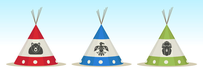3 Tepee houses with animals draw