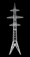 Power transmission tower. Isolated on black. Vector EPS10.