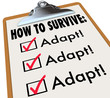 How to Survive Adapt Checklist Clipboard Advice Instructions Suc