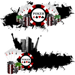 Vegas poker banner chips