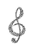 Treble clef music composed of