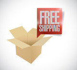 box and free shipping speech bubble illustration