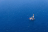 Aerial View of Offshore Jack Up Drilling Rig in The Ocean