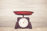 Retro kitchen weight measurement scales on table