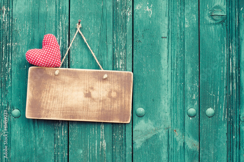 Valentine heart and signboard on vintage planks background - 61459239