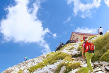 An adventurous girl near the Franchetti refuge, Abruzzo Italy