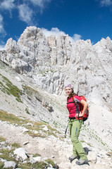 A smiling girl on the mountain trail, Abruzzo, Italy