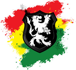 Lion Rastafarian shield black