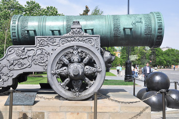 Historic cannon and balls in front of a church at the Kremlin