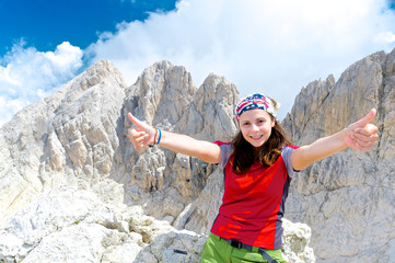 Happy girl near the Corno Grande summit, Abruzzo, Italy