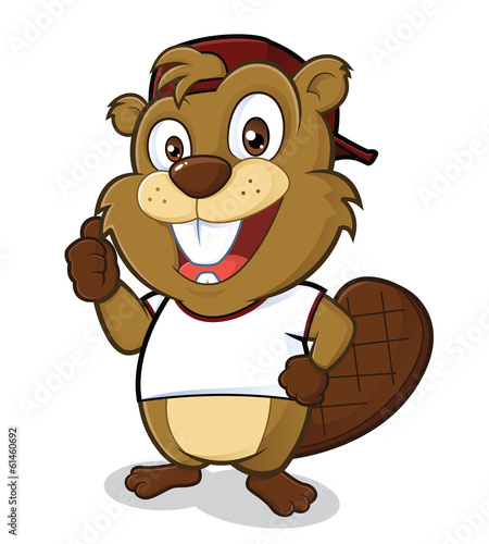 Beaver wearing a hat and a white t shirt