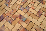 Details of geometric brown stone garden tiles