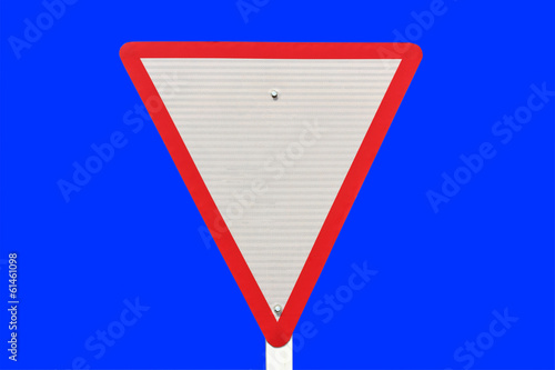 yield traffic sign on blue  background