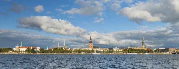 Panoramic view on old Riga city - capital of Latvia