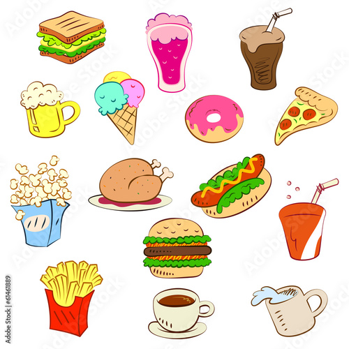 fast foods icon set