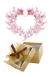 Gift Box and Heart Flowers.Valentines Day.Holiday Card